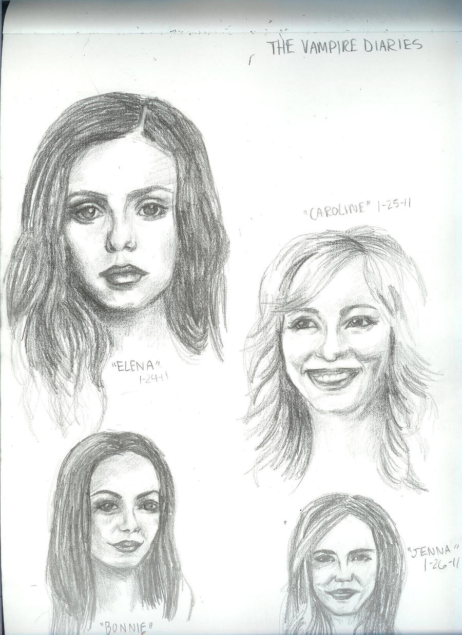 Vampire Diaries Sketches by Morganellie