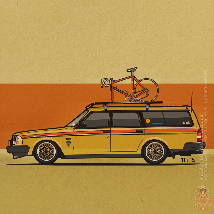 Yellow Volvo 245 Wagon With Bike Square Graphic: Yellow Lowered Volvo 245 Wagon With Vintage Bike By