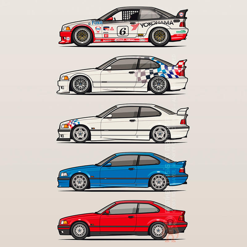 Stack of bmw 3 series e36 coupes by monkeycrisisonmars on deviantart