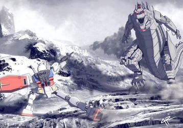 Gundam RX-78-2 v. MechaGodzilla by JR343