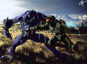 Master Chief punching an Elite by JR343