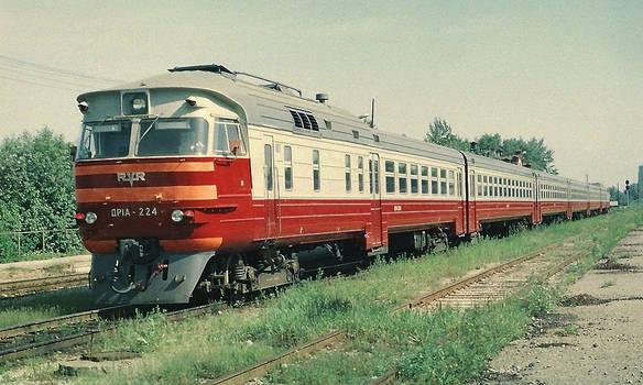 Diesel train DR1A-224 in the depot of Tallinn-Vaik
