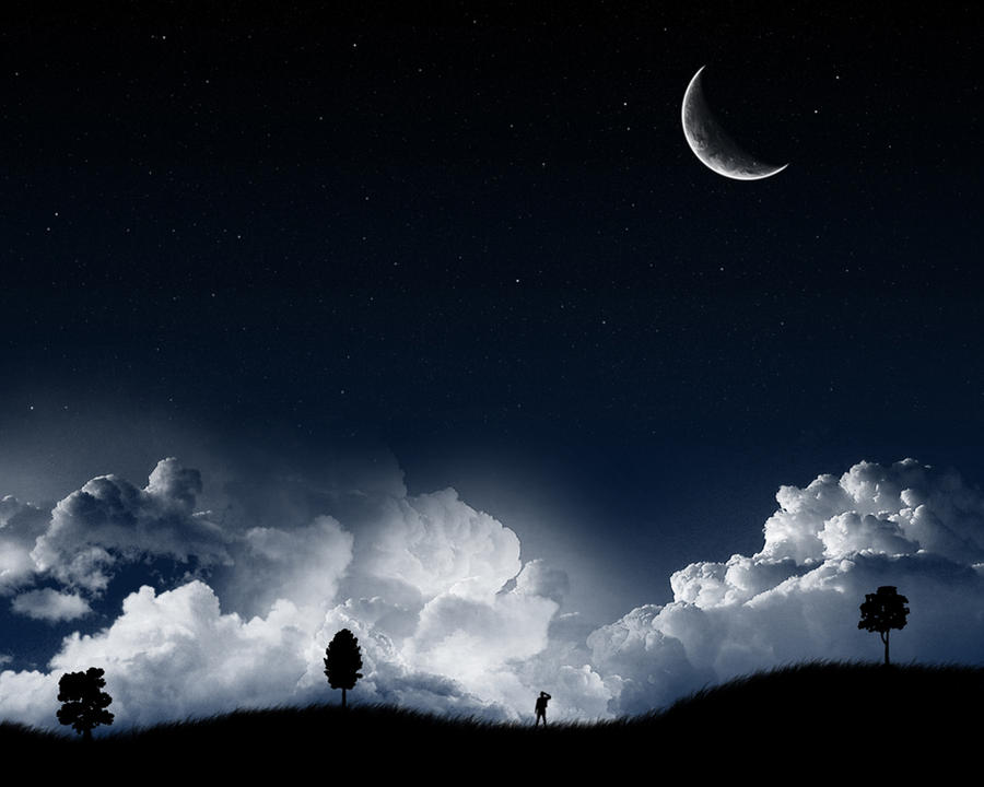 A Dark Starry Night Wallpaper by s3vendays