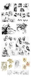 Brushpen/ballpoint/pencil sketchdump - 2014 by nondev