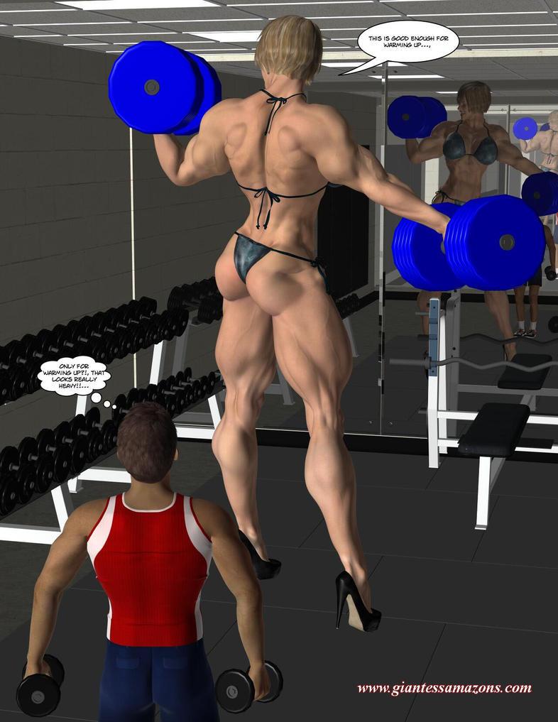 3d amazon muscle women adult photo