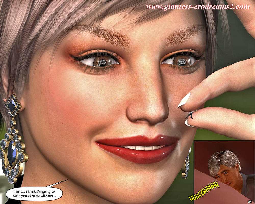 Giantess Erodreams2 - tiny man between her fingers by ilayhu2