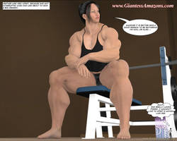 Giantess Amazons - Muscle Girls' Tiny Pet by ilayhu2