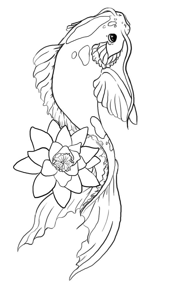 Line Drawing Koi Fish : Koi fish illustration by mercymurrain on deviantart