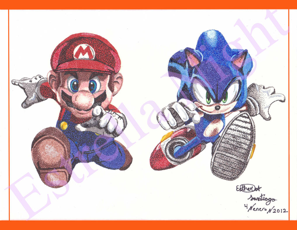 Mario And Sonic (pointillism) by Estrella-Night