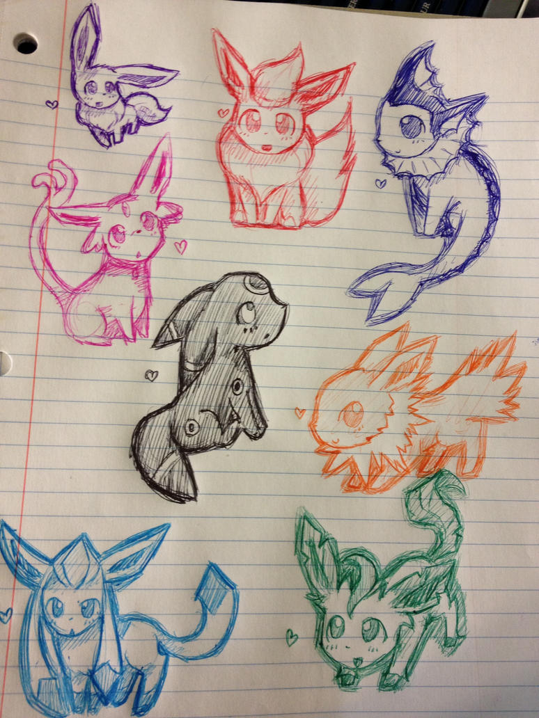 chibi eeveelution doodles by PrussiAwesomeXD on deviantART