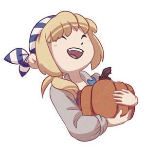Auxxie with a pumpkin