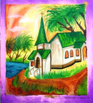 Painting Art : The Church in Village