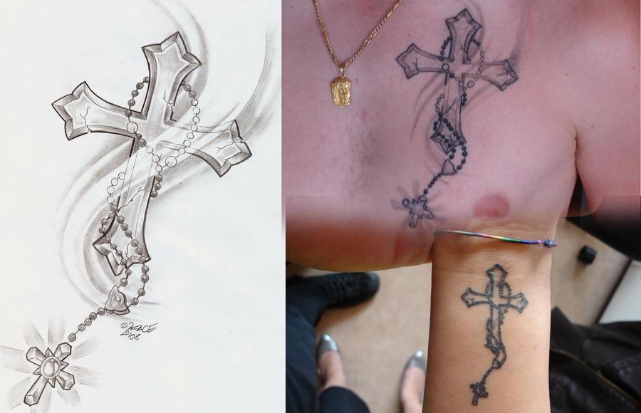 Rosary Cross - chest tattoo