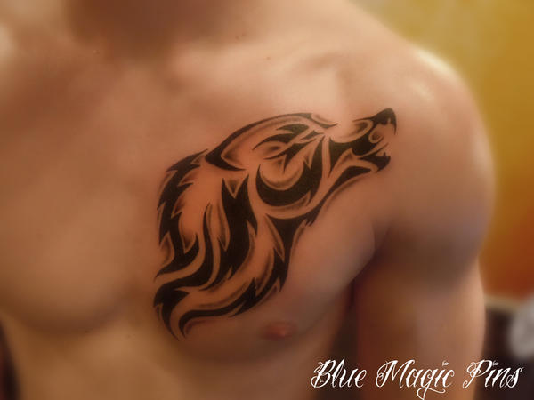 Tribal wolf - chest tattoo