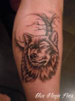 Wolf on the moon tattoo by ravenwarlock
