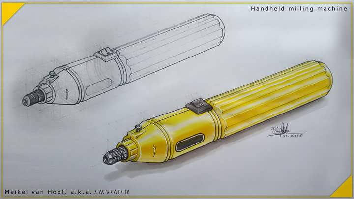 Handheld mini drill/grinder marker drawing by Laggtastic