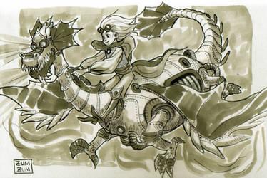 A mechanical dragon by zumart