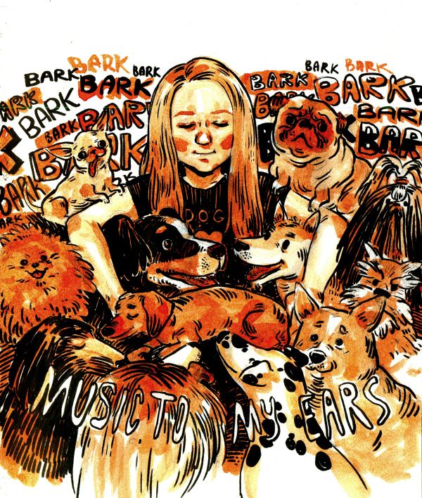 A woman with 40 dogs by zumart