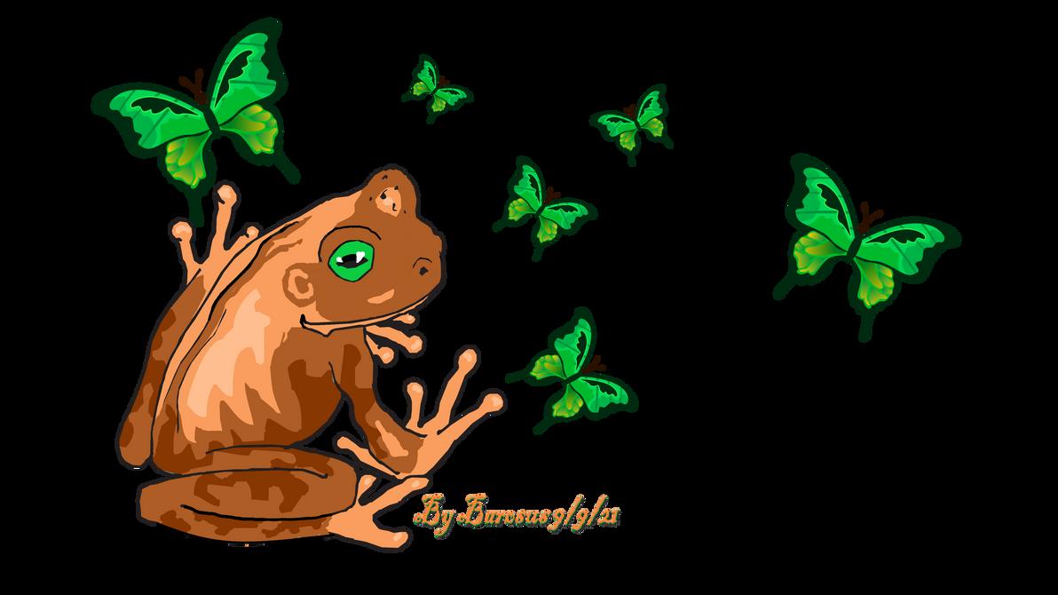 Orange Frog with Butterflies