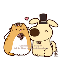 Commission - Pusheen and Battle Dog