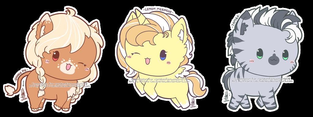 Commission - Doodle Pie, Lemon Meringue, and Tamba by Kirara-CecilVenes
