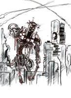 #Inktober Day 21: Big - The Shambling Goliath Robo by lightningdogs