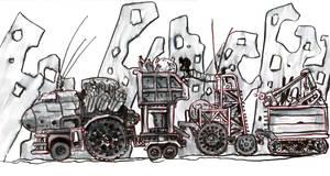 #Inktober Day 23: Slow - Scavenger Caravan by lightningdogs