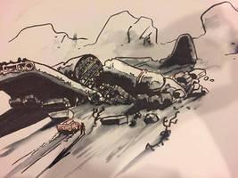 #Inktober Day 30: Wreck - Crash Site at Sundown by lightningdogs