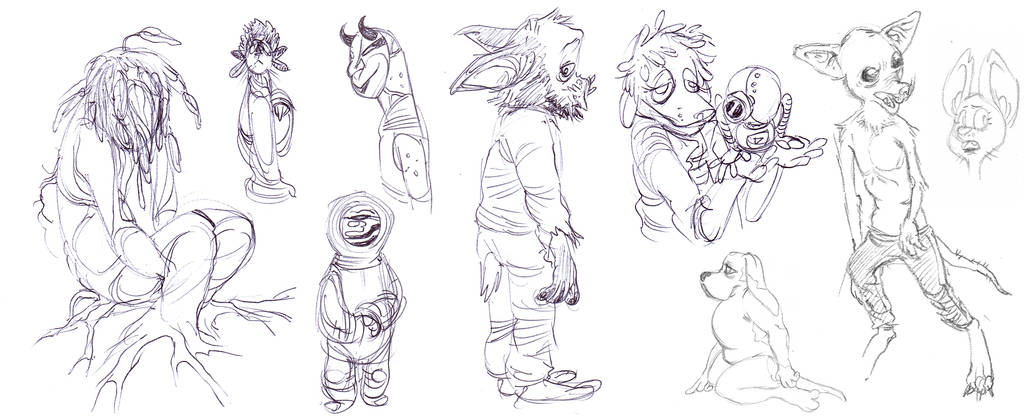 local-shop Sketchdump 1: Spaceboy, dogs, and more by lightningdogs