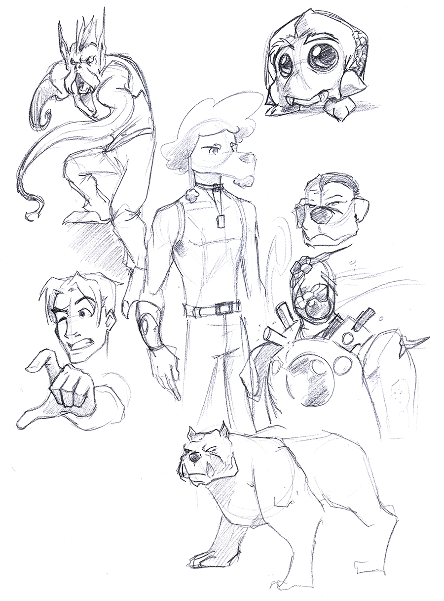 Sketch Page: Icy Robot, Pierre, Mutants and More by lightningdogs