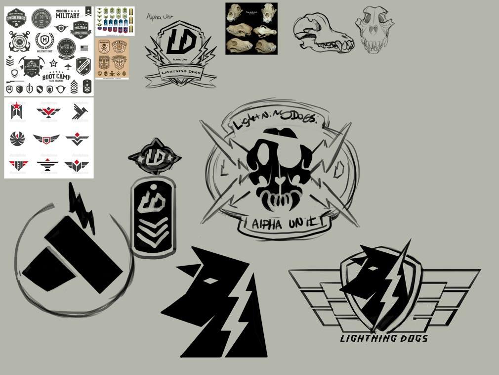 Kaymonstar's Lightning Dogs Emblem Sketches by lightningdogs