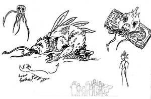 Terror Bird Sketches by lightningdogs