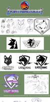 The development cycle of the Lightning Dogs logo by lightningdogs