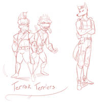 The Lost Diamond Dogs Sketches - Terror Terriers by lightningdogs