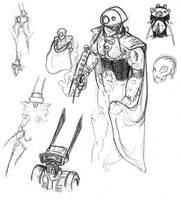 Concept sketches: R.A.B.I.T. and Armored Peoploid by lightningdogs