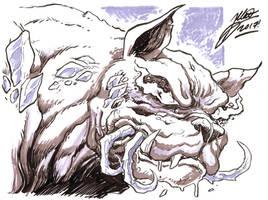 Beasthound Chomps a Glass Spider - by Matt Frank by lightningdogs