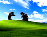 Godzilla vs King Kong in Bliss (Windows XP hills)