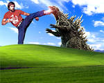 Chuck Norris vs Godzilla Bliss (Windows XP Hills) by DanCar-Deviantart