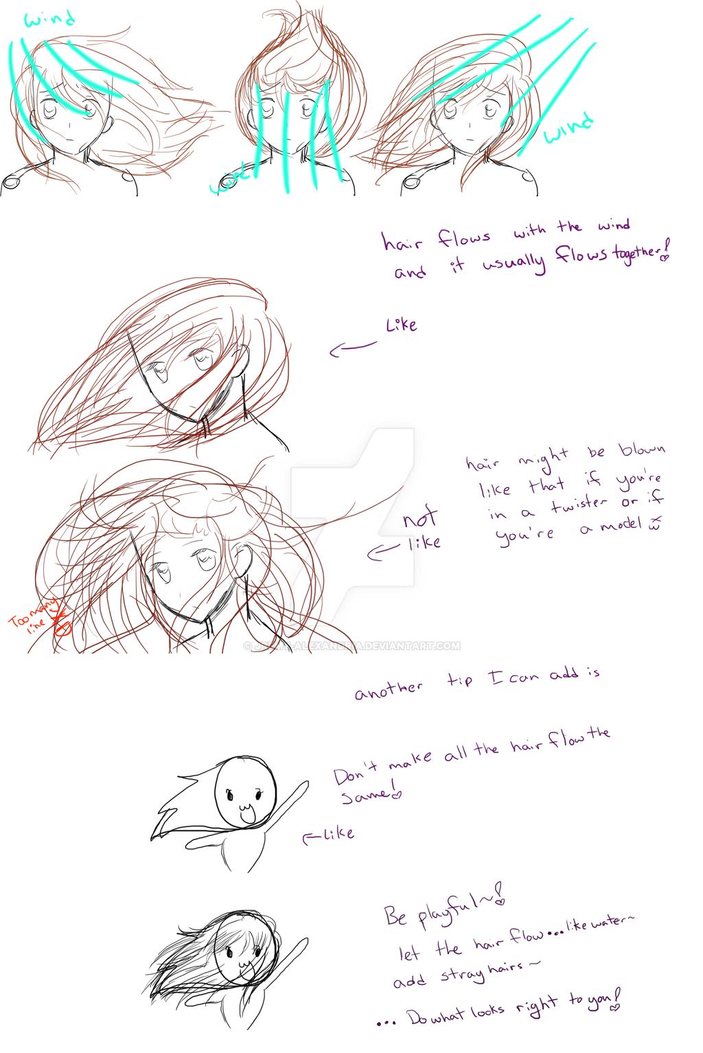 Wind Blown Hair Drawing Wind Blown Hair Tutorial