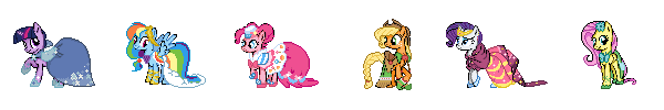 MLP Mane Cast Gala Dress Sprites by Kevfin