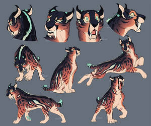 Smilodon Character Sketches by Nightrizer