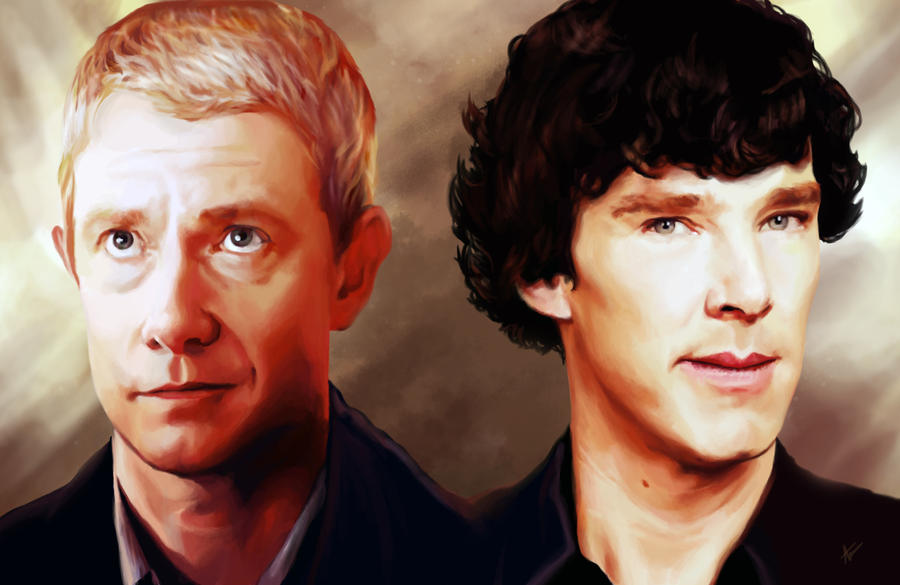 Sherlock Holmes and John Watson Study by Intryck