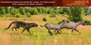 Daphoenodon chases Merychippus by RomanYevseyev
