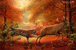 Pleistocene of Japan: tiger hunts Sinomegaceros by RomanYevseyev