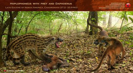 Hoplophoneus with prey