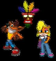Crash Bandicoot chibi's by equilibrik