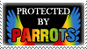 .Stamp. Protected by Parrots by KillMePleaseGod
