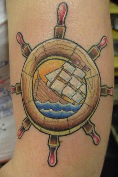 Ship wheel and anchor by anarchytattoostef on deviantart for Anchor and wheel tattoo