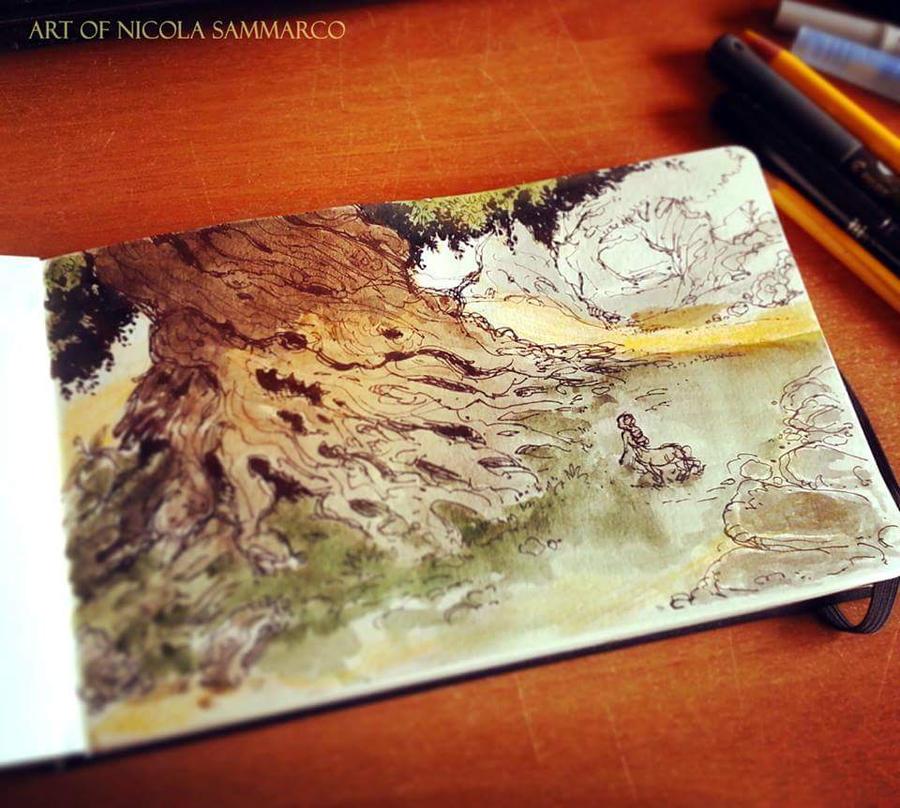 Sketch + watercolor #centaras by nicolasammarco