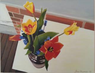 Tulips in brown vase. by gardoll